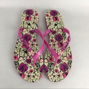 Coach Shoes - Coach Flip Flop Thong Sandals Camela Pink Floral 9